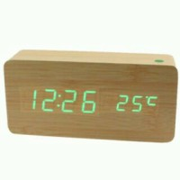 LED Digital Wood Clock/ Jam Digital LED Kayu/ Jam Meja dinding