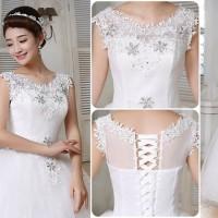 Gaun Pengantin lengan dada brukat wedding dress import resepsi sewa
