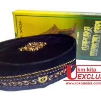 Peci Bludru Motif / Songkok Bordir Emas / Kopyah Gold / Kopiah Merk Gapuro