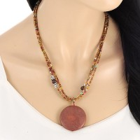 Kalung Vintage Coffee Round Multilayer KN64802