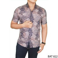 Formal Short Sleeve Men Batik Katun Krem  Bat 822