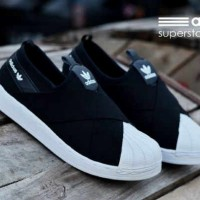SEPATU MURAH ADIDAS SUPERSTAR WOMAN SLIP ON HITAM