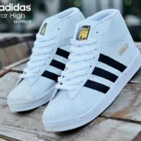 SEPATU MURAH ADIDAS HIGH SUPERSTAR WOMAN PUTIH LIST HITAM