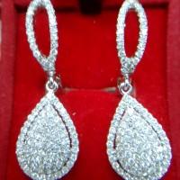 anting fashion berlian eropa motif tetes air emas putih