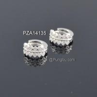 Anting putih jepit model mahkota / daun PZA14135