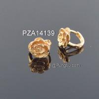 Anting emas jepit model bunga PZA14139