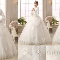 Gaun pengantin wedding dress import muslimah lengan panjang