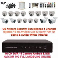 Paket Lengkap IC SONY Cctv Camera US AVICOM 16 Channel