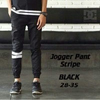 Celana Jogger Stripe Hitam | Strip | Dc | Black