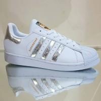 Sepatu Adidas Superstar Putih Silver Metalik Vietnam Cewek 36-40