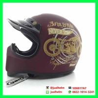 harga Helm Cakil Hbc Born To Ride Merah-maroon Tokopedia.com