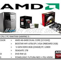 PAKET CPU RAKITAN GAMING 5 /AMD A6-6400 (3.9 GHZ)/ RAM 8GB /HDD 1TB