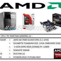 PAKET CPU RAKITAN GAMING 12 / AMD A8-7600 (3.1 GHZ)/RAM 8 GB/HDD 500GB