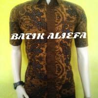 Kemeja Hem Batik Pria Coklat Mega Fashion Batik Pekalongan Ekslusive