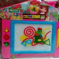 Mainan anak papan tulis hapus model rumah motif kartun stroberi