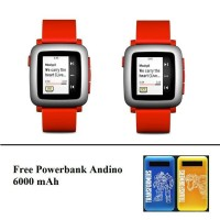 promo! pebble time smartwatch red