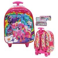 Tas Trolley Anak TK Import - My Litle Pony Flower 5D Timbul + KP