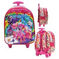 Tas Trolley Anak Tk Import - My Litle Pony Flower 5d Timbul Hologram