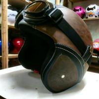 toko online helm retro kulit clasic kacamata coklat hit keren