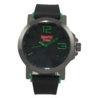 Jam Tangan Pria Sporty Time STX 1014 - Rubber Hitam Dial Hitam Hijau
