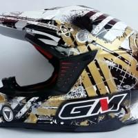 harga Helm Gm Supercross Supermoto Full Cross Black White Gold Neutron Tokopedia.com