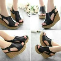 harga Sepatu Sandal Wedges Wanita Pesta Kokop Selop Hitam Tokopedia.com