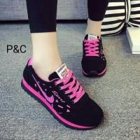 Sepatu Boot Kets Wanita Hitam Corak Pink Sport Modis Pusatnya Sepatu