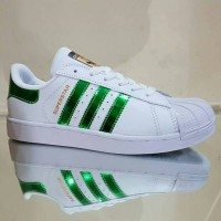 Sepatu Adidas Superstar Putih Hijau Metalik Vietnam Cewek Woman 36-40