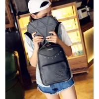 Tas Wanita Impor J19356 Black 2in1 Bag Leather Backpack Ransel Diamond