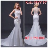 gaun pengantin marmaid putih baju pengantin murah wedding gown import