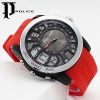 Jam Tangan Police Dualtime Tali Rubber Merah
