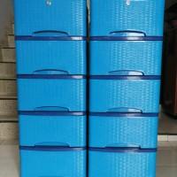 lemari plastik murah motif rotan 5 susun - biru