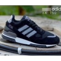Sepatu Adidas Runing Sport Pria Casual ZX 750 Hitam Abu Premium Murah