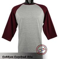 Kaos Polos Raglan Abu Misty Marun o-neck Cotton Combed 20s S/M/L/XL