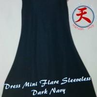 Jual Baju Terusan/Midi Flare Dress Simple sleeveless Biru Gelap Import Murah
