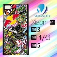 Custom Casing HP Xiaomi Mi3. Mi4, Mi4i, Mi5 Sticker Bomb Z3809 Hardcas