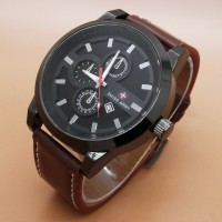 Jam Tangan Olil Swiss Army Kulit Leather Triple Chrono Variasi