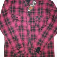 Kemaja Panjang Distro Kain Flanel / Flannel Merah Kotak baju pria