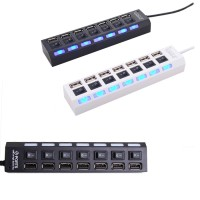 Multi 7 Ports High Speed USB Hub 2.0 480Mbps Hub On/Off Switch