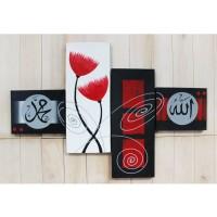 Jual Lukisan Kaligrafi - Bunga Merah Abstrak Murah