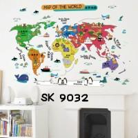 Wall Stiker Uk.60x90 Wallsticker Peta Dunia Anak - Anak Aneka Warna