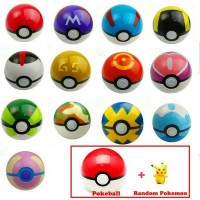 Mainan pajangan anime game pokemon go (pokeball + figure)