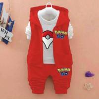 Set Vest Pokemon Go Red Kid 3in1
