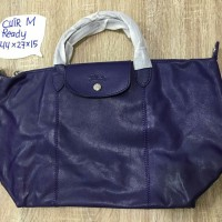 TAS LONGCHAMP ORIGINAL LE PLIAGE CUIR MEDIUM UNGU BILBERRY