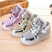 sepatu anak import hello kitty led (nyala) size 21-30