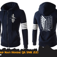 Jaket Anime Attack On Titan SNK 4-strip Navy Jacket Hoodie (JA SNK 22)