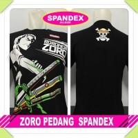 kaos spandex hitam roronoa zoro pedang one piece luffy anime manga