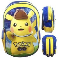 Jual Tas Ransel Sekolah Anak SD Pokemon Go Pikachu Topi 3D Timbul Murah