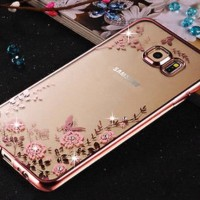 Softcase Diamond Rose Gold Bumper Pink Flower for Samsung J7 2016