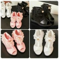 SEPATU ANAK IMPORT CINDERELLA LACE PINK WHITE KIDS SHOES SUPP